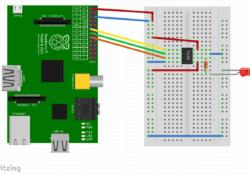 MCP4131 on a breadboard programmed by a Raspberry Pi